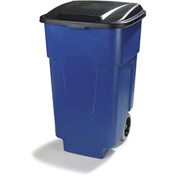 Carlisle Square Rolling Waste Trash Can w/Hinged Lid-50 Gal.