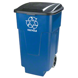 Carlisle Recycle Rolling Waste Container - 50 Gal., Blue