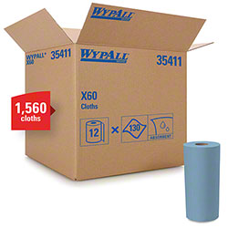 "WypAll® X60 Reusable Cloth - 9.8"" x 13.4"", Blue"