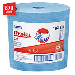"WypAll® X70 Jumbo Roll Extended Use Reusable Cloth - 12.4"" x 13.4"", Blue"