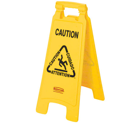 """2-SIDED FLOOR SIGN """"CAUTION"""" MULTILINGUAL YELLOW 1/EA"""