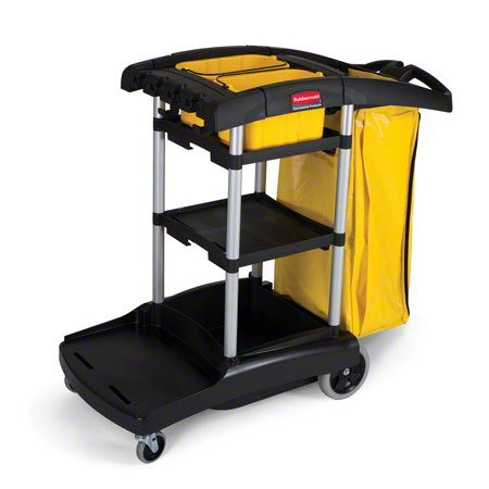 HI-CAPACITY CLEANING CART W/ VINYL BAG BLACK/YELLOW 1/EA