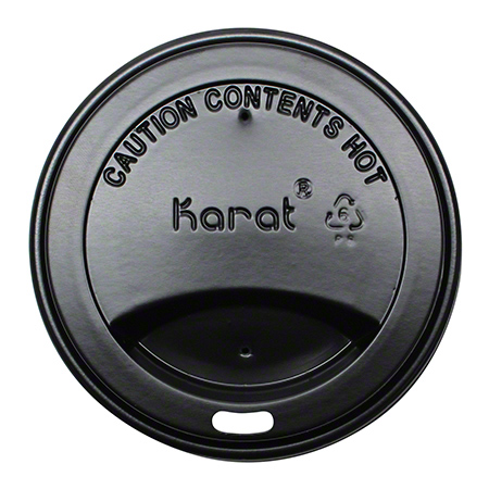 Karat® Black Sipper Dome Lid Fits 10 oz. - 24 oz. Hot Cup