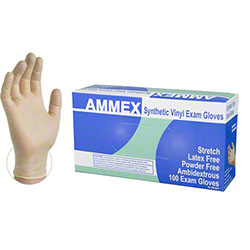 Ammex Ivory Stretch Synthetic Vinyl Exam Glove - Small