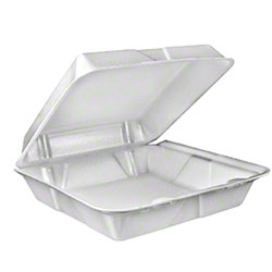 Dart® Foam Hinged Lid Cont. - Small 1 Cmpt, White