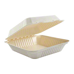 "PrimeWare® PLA Lined Hinged Lid Container -9"" x 9"" x 3.19"""
