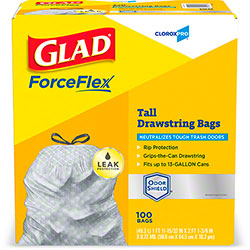 Glad® CloroxPro™ ForceFlexPlus™ 13 Gal. Tall Trash Bag - 100 ct. Box