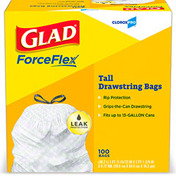 Glad® CloroxPro™ Grey 13 Gal. Tall Kitchen Drawstring Bag - 100 ct. Box