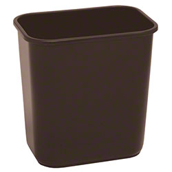 Continental Commercial Plastic Wastebasket -13 5/8 Qt,Brown