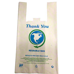 "Inteplast Reusable T-Shirt Bag - 11.5"" x 7"" x 21"""