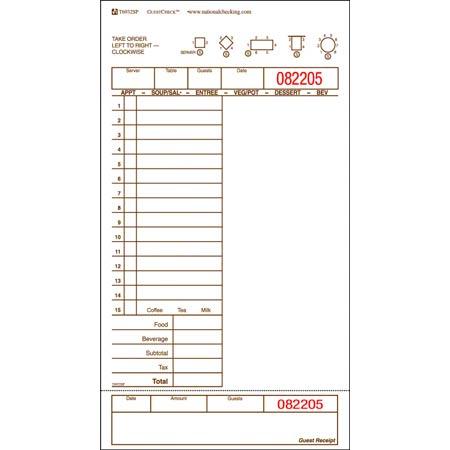NCC Single Copy Board GUESTCHECK™ - 1 Part, Tan, 15 Lines