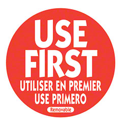 "NCCO Trilingual Use First Removable Label  - 2"" Circle, Red"