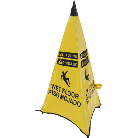 """ARP Safety """"Wet Floor"""" Handy Cone HD w/Pouch - 36"""", Yellow"""