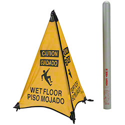 "ARP Safety ""Wet Floor"" Cone w/Storage Tube - 31"", Yellow"