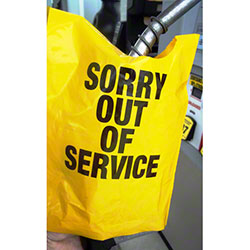 Yellow Out of Service Bags For Fuel Pumps