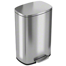 HLS Stainless Steel Step Trash Can w/Liner - 13.2 Gal.