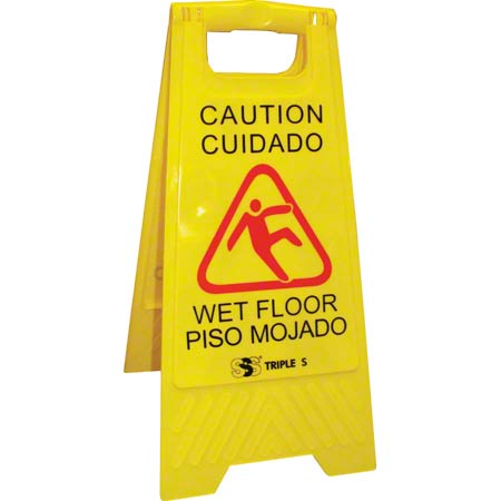 SSS® 2 Sided Wet Floor Sign - English/Spanish, Yellow
