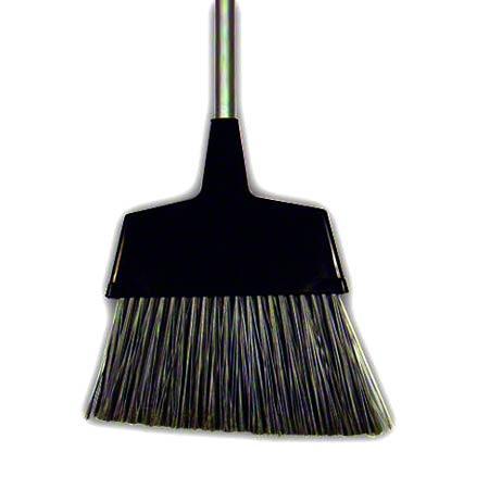BROOM PLASTIC ANGLE CUT LARGE W/METAL HANDLE BLACK