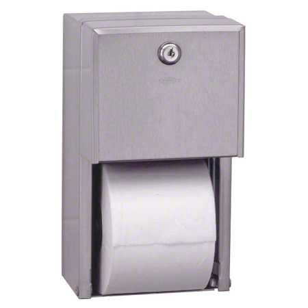 DISP TOILET PAPER DOUBLE ROLL STAINLESS W/LOCK