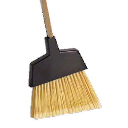 BROOM PLASTIC ANGLE CUT LG FLAGGED WOOD HANDLE