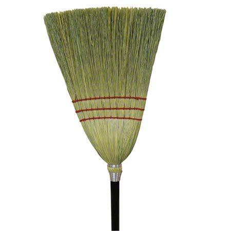 BROOM MAID MIXED FIBER WOOD BLACK HANDLE