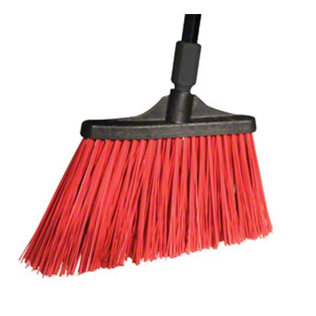 BROOM PLASTIC ANGLE CUT LARGE UNFLAGGED RED W/HD MTL HANDLE