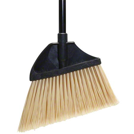 BROOM PLASTIC ANGLE CUT LG FLAGGED BLACK W/METAL HANDLE