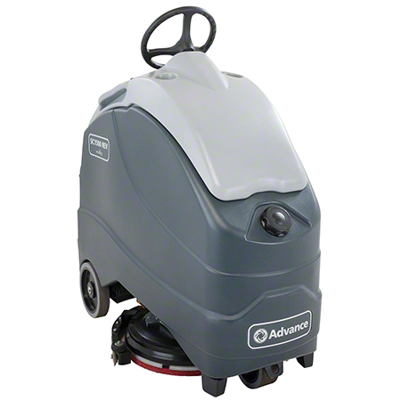 56104012 ADVANCE SC1500 X20R STAND ON FLOOR SCRUBBER WITH REV AND 4ea 208 AH BATTERIES. LARGE 12 GAL SOLUTION TANK AND 12.5 GAL RECOVERY TANK. 3-STAGE MOTOR FOR SUPERIOR CLEANING PERFORMANCE. 26.5 SQUEEGEE WIDTH.