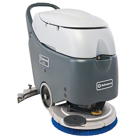 "56383128 ADVANCE SC450 20"" BATTERY OPERATED WALK BEHIND SCRUBBER - 105 AH WET BATTERIES. INCLUDES ON-BOARD CHARGER AND PROLENE BRUSH WITH 11.9 GAL RECOVERY TANK. 20 INCH BRUSH SIZE AND 30 INCH SQUEEGEE WIDTH."