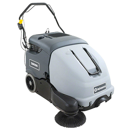 56383323 ADVANCE SW900 33 INCH WALK-BEHIND SWEEPER WITH TWO 242AH WET BATTERIES, ON BOARD CHARGER AND SINGLE SIDE BROOM. 2.1 FT DEBRIS HOPPER. FOR BOTH INDOOR AND OUTDOOR CLEANING.