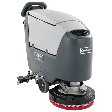 56383557 ADVANCE ECOFLEX SC500 AUTO SCRUBBER WITH 2ea 130 AH WET BATTERIES AND ON-BOARD CHARGER FOR CONVENIENT CHARGING. 20 INCH DISC, 155 RPM BRUSH SPEED, 450W BRUSH MOTOR AND 280W VACUUM MOTOR. QUIET OPERATION.