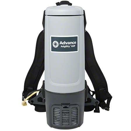 9060608010 ADVANCE 6XP ADGILITY BACKPACK VACUUM. 6 QUARTS DUST BAG CAPACITY. 110-120V, 60 Hz MOTOR, 1300W, 10 AMPS AND 50 FT YELLOW POWER CORD. LIGHTWEIGHT - 9.3 LB
