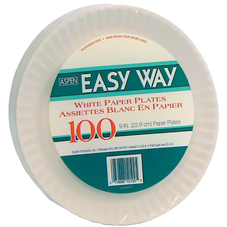 "9"" UNCOATED PAPER PLATES 1200/CS FS1009"