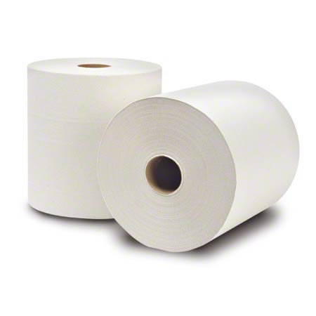 8031400 -ECOSOFT WHITE ROLL TOWELS 800 X 6 ROLLS (GREENSEAL)