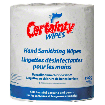 HS1500 CERTAINTY LARGE ROLL HAND SANITIZER WIPES 8″ X 6″ WIPE, 2 ROLLS X 1500 WIPES/RL (Formerly WI5020)