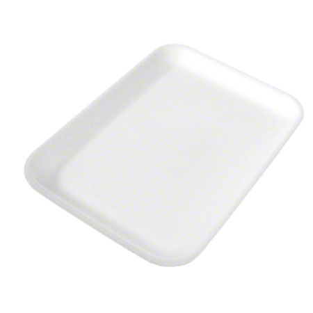 "2S MEAT TRAY FOAM 8.25""x 5.75"" x .75"" WHITE 500/CASE"