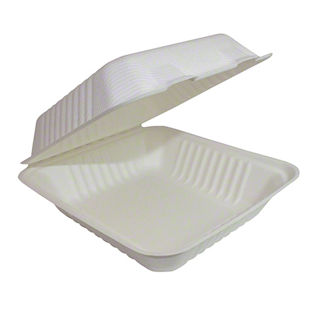 30309 9 X 9 HINGED LID CONTAINER COMPOSTABLE 200/CS