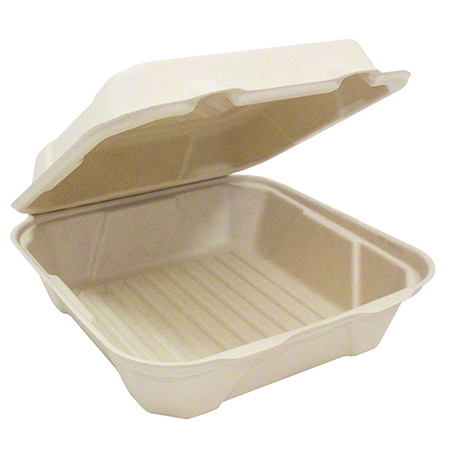 "31308 HINGED LID CONTAINER SQUARE SUGARCANE 8"" COMP.200/cs"