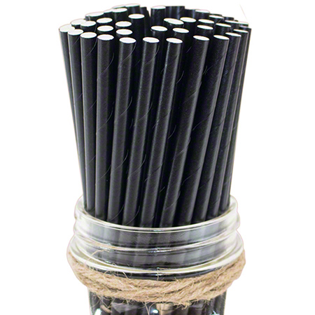 "57711 BLACK 8"" COCKTAIL PAPER STRAW COMPOSTABLE 4X625/CS FS031"