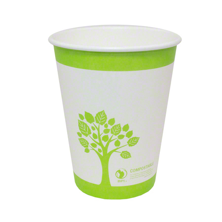 75512 PAPER HOT CUP SINGLE WALL GREEN TREE 12oz COMPOSTABLE 1000/CS