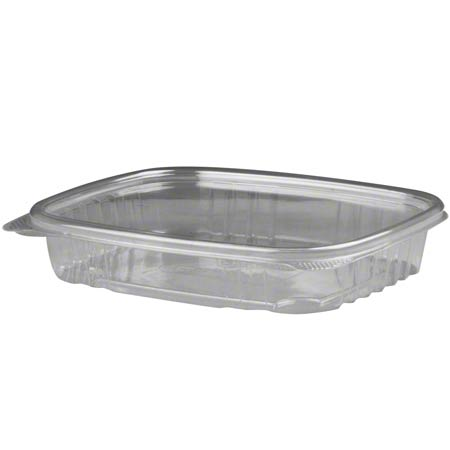 AD16S 16oz HINGED CLEAR PLASTIC DELI CONTAINER SHALLOW 200/CS