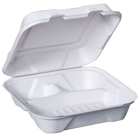 HF203 GENPAK BAGASSE 9″X9″-3 COMPARTMENT HINGED CONTAINER 200/CS COMPOSTIBLE