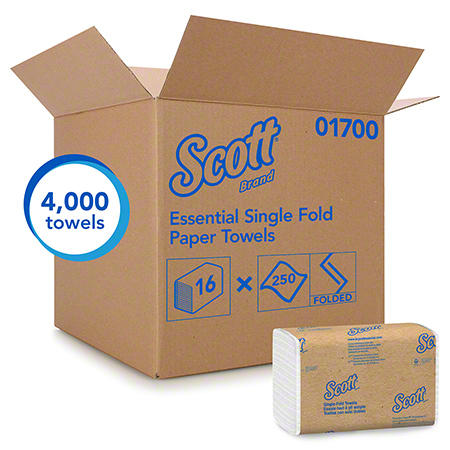 01700 SCOTT WHITE SINGLEFOLD TOWELS 16 PKG X 250SHEETS/CS