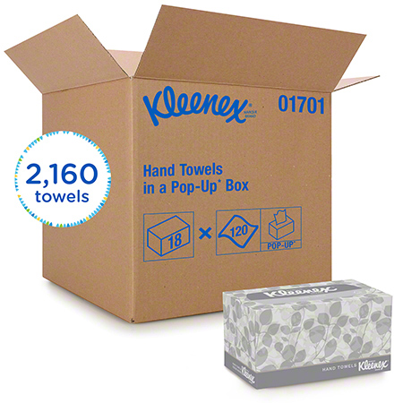 "01701 KLEENEX POP-UP BOX HAND TOWELS 9"""" X 10.5"""" 18 X 120/CS"