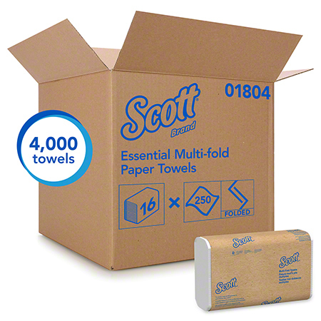 01804 SCOTT MULTIFOLD TOWELS, WHITE,16 PKG X 250 SHEETS