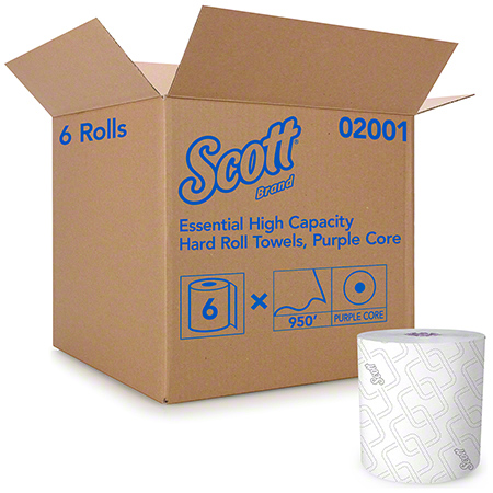 02001 SCOTT ESSENTIAL HARD ROLL TOWEL 8″ X 950′, 6RL/CS