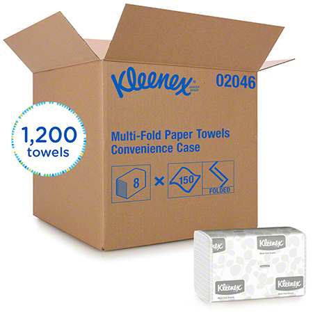 02046 KLEENEX MULTIFOLD TOWEL, WHITE, 8PKG X 150SHTS/CS