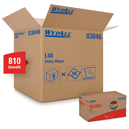 "03046 WYPALL L40 WIPERS, WHITE 10.8 X 10.2"" 9 X 90 SHEETS"