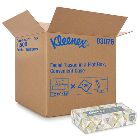03076 KLEENEX FACIAL TISSUE 12 PK. X 125 SHEETS.