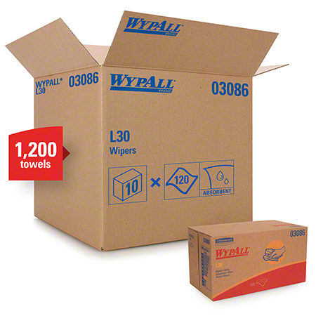 "03086 WYPALL L30 WIPERS WHITE 10.8"" X 10"" - 10 X 120/CS POP UP BOX"
